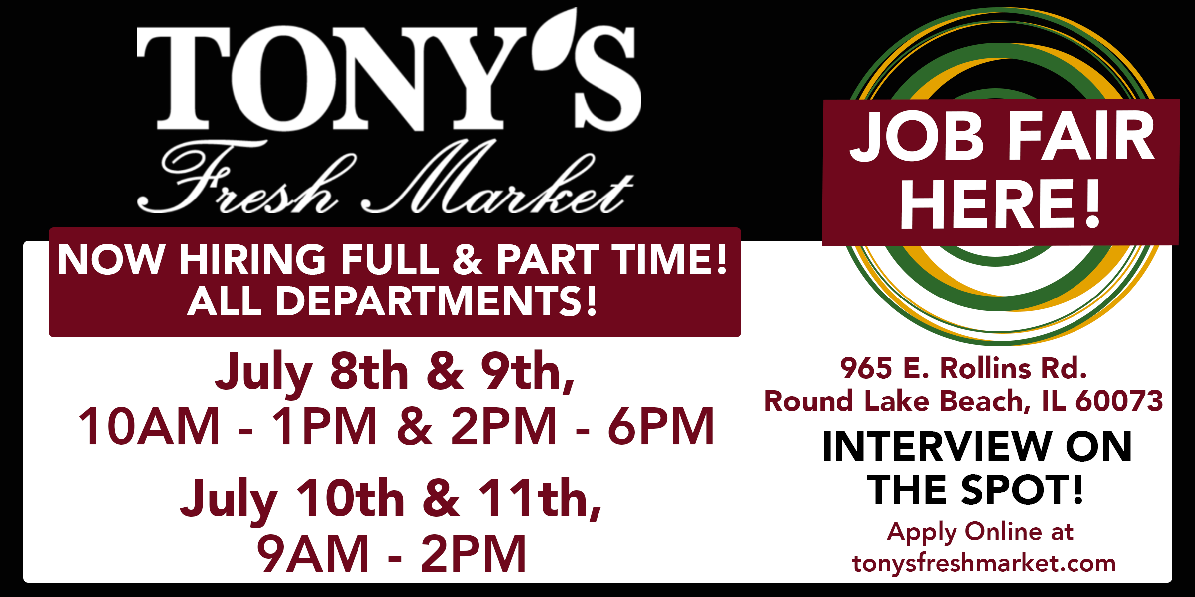 Tony's Fresh Market Round Lake Beach July Job Fair